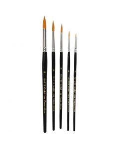 Gold Line penselen, rond, afm 1-18, B: 2-7 mm, 5 stuk/ 1 doos