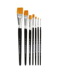 Gold Line penselen, plat, afm 0-20, B: 2-24 mm, 7 stuk/ 1 doos