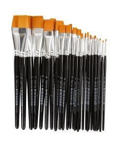 Gold Line penselen, plat, afm 0+2+4+8+12+16+20, B: 2-24 mm, 30 stuk/ 1 doos