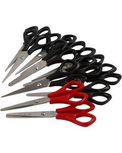 Schoolschaar, L: 14 cm, rechts- & linkshandig, zwart, rood, 12 stuk/ 1 doos