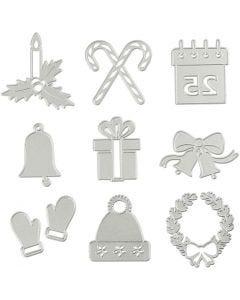 Stans- en embossing mallen, kerstfiguren, d: 2-6,5 cm, 1 stuk