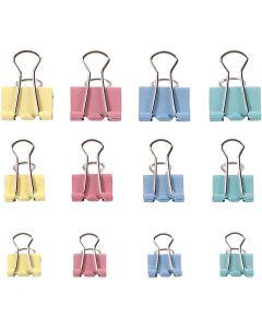 Foldback clips, B: 15-19-25 mm, pastelkleuren, 30 div/ 1 doos