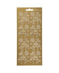 Stickers, rendier, 10x23 cm, goud, 1 vel