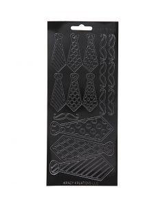 Stickers, stropdassen, 10x23 cm, zwart, 1 vel