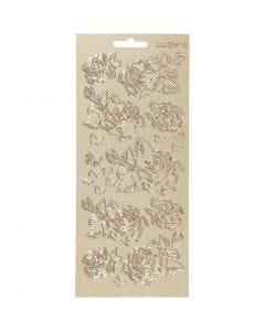 Stickers, rozen, 10x23 cm, goud, 1 vel