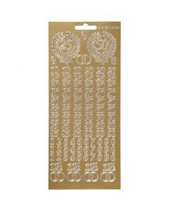 Stickers, jubileum, 10x23 cm, goud, 1 vel