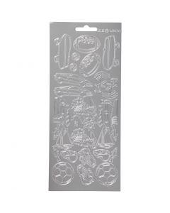 Stickers, sport, 10x23 cm, zilver, 1 vel