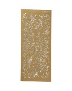 Stickers, bladeren, 10x23 cm, goud, 1 vel