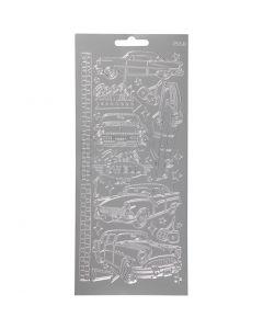 Stickers, auto's, 10x23 cm, zilver, 1 vel