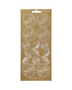 Stickers, margrieten, 10x23 cm, goud, 1 vel