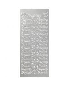 Stickers, bryllup, 10x23 cm, zilver, 1 vel
