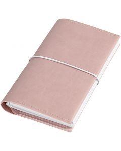 Planner / Bulletjournal, afm 10x18x1,5 cm, elastieksluiting, roze, 1 stuk