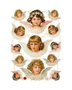Vintage plaatjes, engelen, 16,5x23,5 cm, 3 vel/ 1 doos