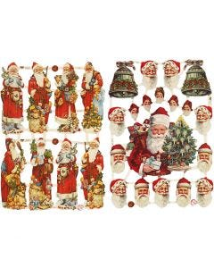 Vintage plaatjes, Kerstman met cadeaus, 16,5x23,5 cm, 2 vel/ 1 doos