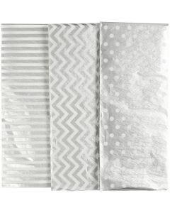 Tissuepapier, 50x70 cm, 17 gr, zilver, 6 vel/ 1 doos