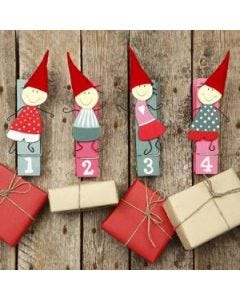 Amusing Advent Pixies on Pegs
