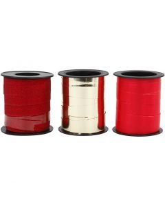 Cadeaulint, goud, rood, rood glitter, 3x15 m/ 1 doos