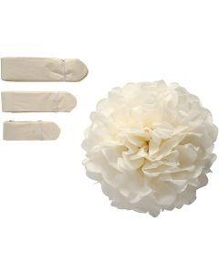 Pompon van papier, d: 20+24+30 cm, 16 gr, off-white, 3 stuk/ 1 doos
