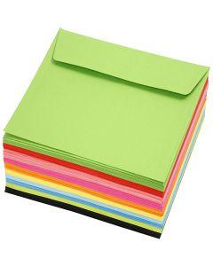 Gekleurde enveloppen, afmeting envelop 16x16 cm, 80 gr, diverse kleuren, 10x10 stuk/ 1 doos