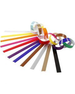 Slinger stroken, L: 16 cm, B: 15 mm, diverse kleuren, 2400 stuk/ 1 doos