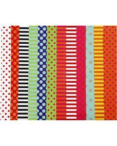 Glanspapier, patroon, 32x48 cm, 80 gr, diverse kleuren, 100 div vellen/ 1 doos