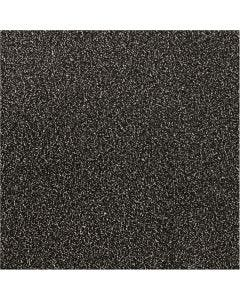 Glitterfolie, B: 35 cm, dikte 110 my, zwart, 2 m/ 1 rol