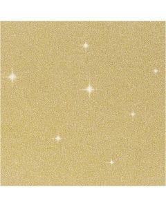 Glitterfolie, B: 35 cm, dikte 110 my, goud, 2 m/ 1 rol