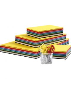 Gekleurd karton en kinderscharen, A3,A4,A5,A6, 180 gr, diverse kleuren, 1 set