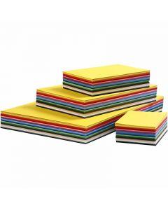 Gekleurd karton, A2,A3,A4,A5,A6, 180 gr, diverse kleuren, 1800 div vellen/ 1 doos