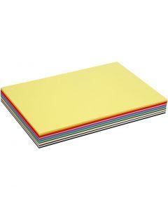 Gekleurd karton, A3, 297x420 mm, 180 gr, diverse kleuren, 300 div vellen/ 1 doos