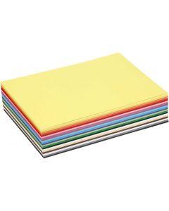Gekleurd karton, A5, 148x210 mm, 180 gr, diverse kleuren, 60 div vellen/ 1 doos