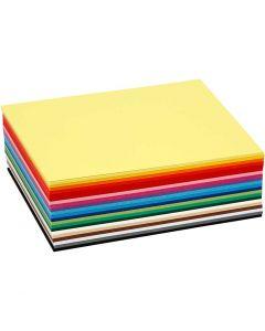 Gekleurd karton, A6, 105x148 mm, 180 gr, diverse kleuren, 120 div vellen/ 1 doos