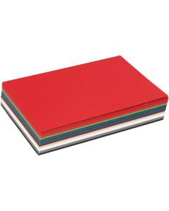 Kerst karton, A6, 105x148 mm, 180 gr, diverse kleuren, 120 div vellen/ 1 doos