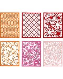 Kartonblok, A6, 104x146 mm, 200 gr, oranje, roze, roze, rood, 24 stuk/ 1 doos