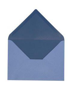 Envelop, afmeting envelop 11,5x16 cm, 100 gr, lichtblauw/donkerblauw, 10 stuk/ 1 doos