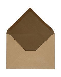 Envelop, afmeting envelop 11,5x16 cm, 100 gr, zandkleur/bruin, 10 stuk/ 1 doos