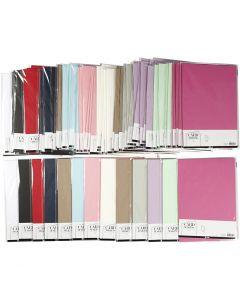 Karton, A4, 210x297 mm, 220 gr, diverse kleuren, 12x10 doos/ 1 doos
