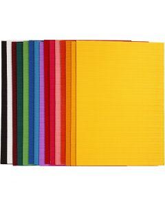 Ribbelkarton, 25x35 cm, 80 gr, 15 div vellen/ 1 doos