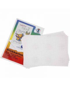 Kruissteken karton, 3x3 gaten per cm  , 300 gr, wit, 10 vel/ 1 doos