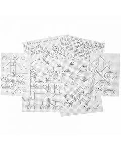 Kruissteken karton voorbedrukt motief, 3x3 gaten per cm  , 8x5 vel/ 1 doos