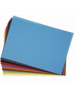Kruissteken karton , 3x3 gaten per cm  , 300 gr, diverse kleuren, 10 div vellen/ 1 doos