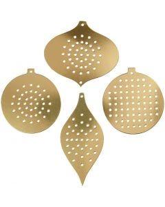 Kruissteken karton, H: 8,5-12 cm, gatgrootte 3 mm, metallic goud, 8 stuk/ 1 doos