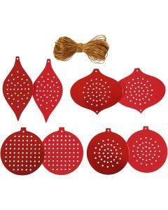 Kruissteken karton, Kerstornamenten, H: 8,5-12 cm, gatgrootte 3 mm, 280 gr, metallic rood, 32 stuk/ 1 doos