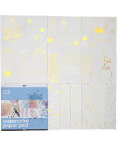 Kleurboek met aquarelpapier, afm 30,5x30,5 cm, wit, 12 vel/ 1 stuk