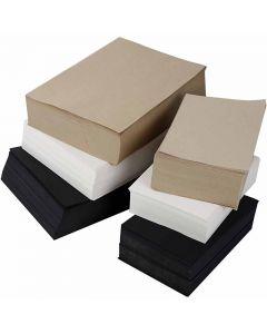 Kraft papier, A3,A4, 100 gr, zwart, grijs, edele, wit, 6000 div vellen/ 1 doos