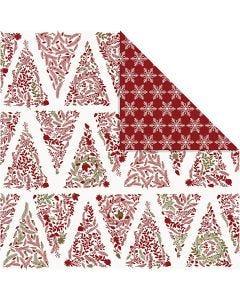 Design papier, kerstbomen & ijskristallen, 30,5x30,5 cm, 180 gr, goud, rood, wit, 3 vel/ 1 doos