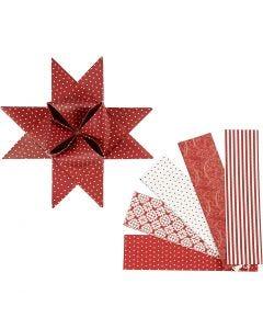 Papieren vlechtstroken, L: 100 cm, d: 18 cm, B: 40 mm, rood, wit, 40 stroken/ 1 doos