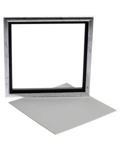 Canvas Paneel met Lijst, afm 25x25 cm, wit, 1 stuk