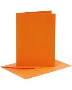 Kaarten en enveloppen, afmeting kaart 10,5x15 cm, afmeting envelop 11,5x16,5 cm, 110+220 gr, oranje, 6 set/ 1 doos