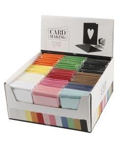 Kaarten en enveloppen, afmeting kaart 10,5x15 cm, afmeting envelop 11,5x16,5 cm, diverse kleuren, 120 set/ 1 doos